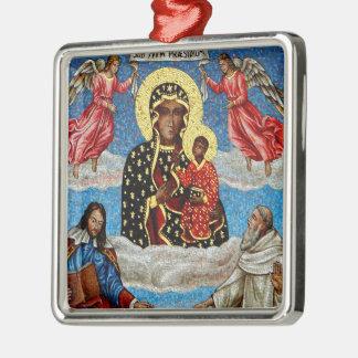 Black Madonna Mosaic Silver-Colored Square Ornament