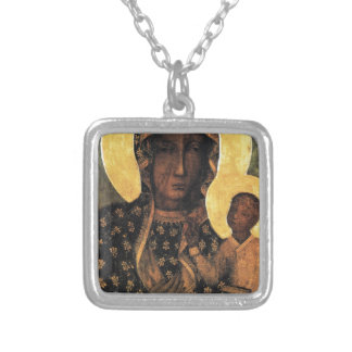 Black Madonna Poland Our Lady of Czestochowa print Silver Plated Necklace