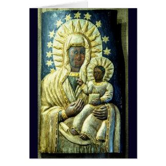 Black Madonna Wood Carving Christmas Stamp Card