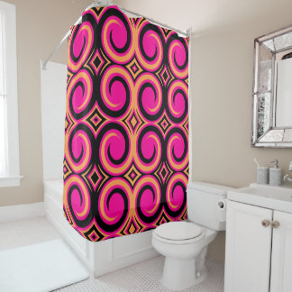 Black Magenta Abstract Swirl Pattern