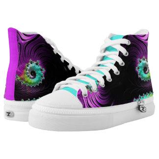 Black Magenta Teal Fractal Swirl High Top Sneaker