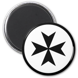 Black Maltese Cross Magnet