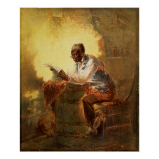 Black Man Reading Newspaper by Candlelight Poster