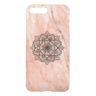 Black Mandala On Rose-Gold Marble iPhone 7 Plus Case