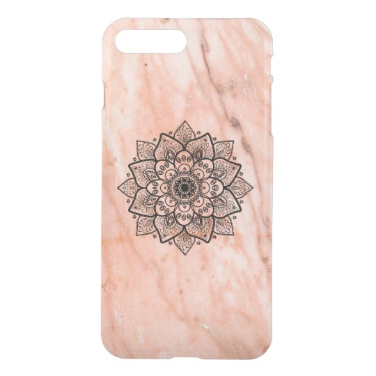 Black Mandala On Rose-Gold Marble iPhone 7 Plus Case