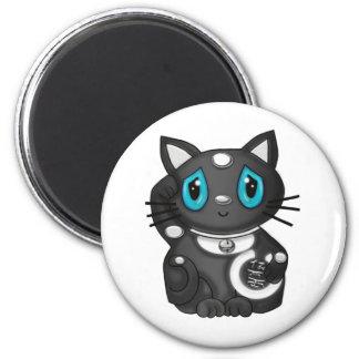 Black Maneki Neko Bekoning Good Luck Cat Magnet