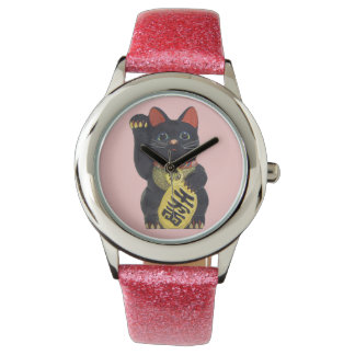Black Maneki Neko Cat Wristwatch