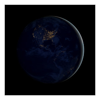 Black Marble - Americas at Night Poster