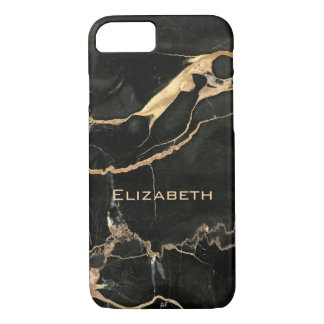Black Marble and Name Elegant iPhone 8/7 Case