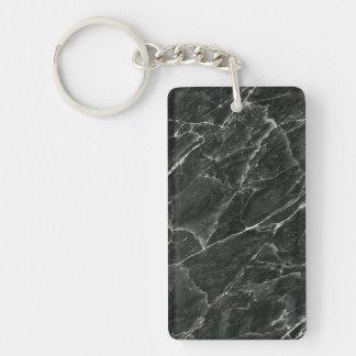 Black Marble Double-Sided Rectangular Acrylic Keychain