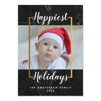 Black Marble Happy Holidays Photo Card