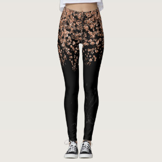 Black Marble Look | Faux Rose Gold Confetti Leggings