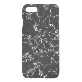 Black Marble Monogram iPhone 7 Case