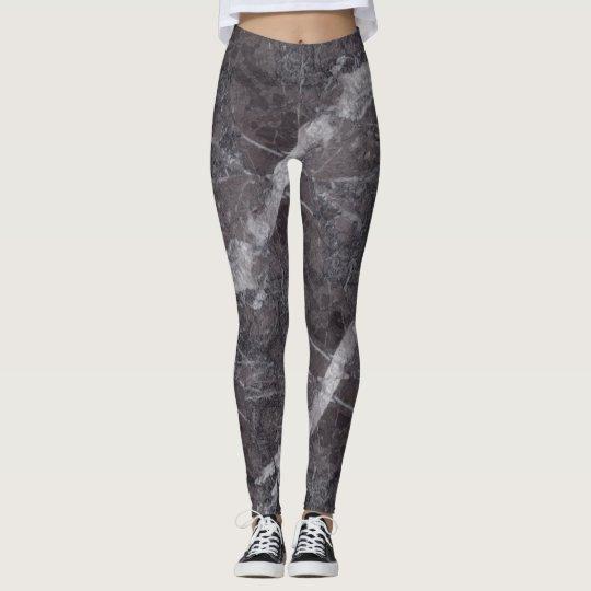 Black Marble Print Leggings