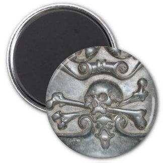 Black Marble Skull & Bones Fridge Magnets