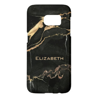 Black Marble Slab and Your Name Samsung Galaxy S7 Case