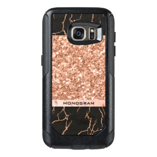 Black Marble Stone & Rose-Gold Glitter OtterBox Samsung Galaxy S7 Case