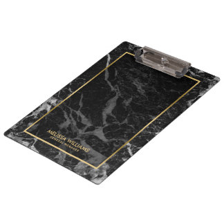 Black Marble Stone Texture Gold Border Clipboard