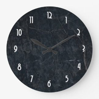 Black Marble Stone Texture Large Clock