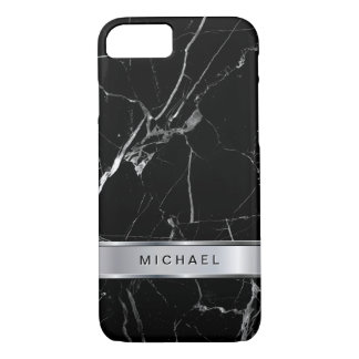 Black Marble Texture Silver Metallic Monogram Name iPhone 8/7 Case