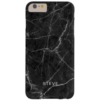 Black Marble Texture With Custom Name Barely There iPhone 6 Plus Case