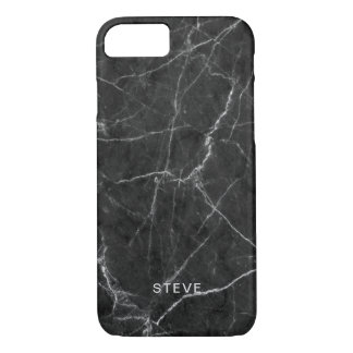 Black Marble Texture With Custom Name iPhone 8/7 Case