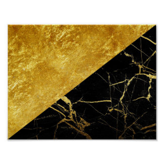 Black Marble with Gold Leaf Basic Poster