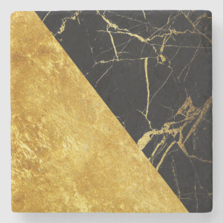 Black Marble with Gold Leaf Stone Coaster