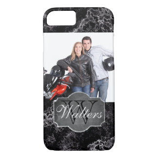 Black Marble with Photo, Monogram and Name iPhone 8/7 Case