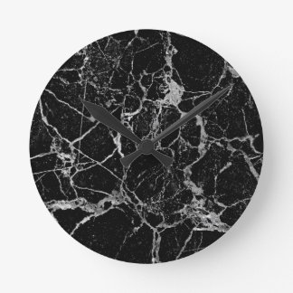 Black Marble with White Veining Round Clock
