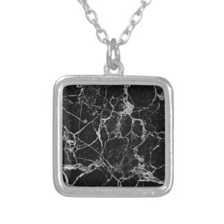 Black Marble with White Veining Silver Plated Necklace