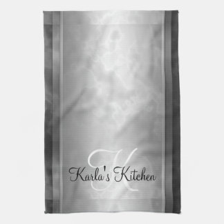 Black Marbled Personalized Kitchen Towel