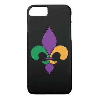 Black Mardi Gras Fleur de Lis iPhone 7 Case