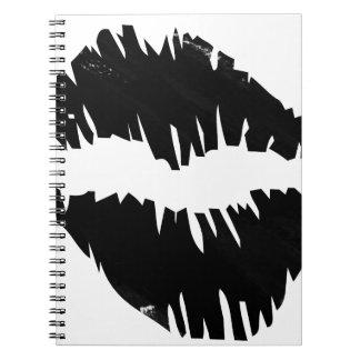 black-marker-goth kiss spiral notebook