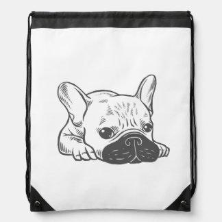 Black Mask Cream Frenchie Illustration Drawstring Bag