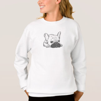 Black Mask Cream Frenchie Illustration Sweatshirt