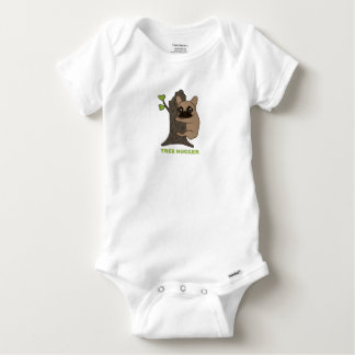 Black mask fawn Frenchie is a cute tree hugger Baby Onesie