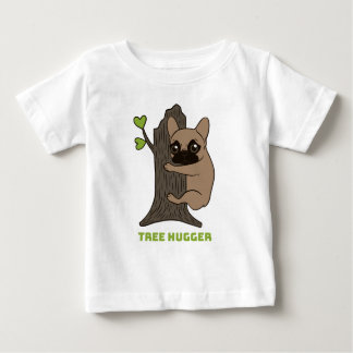 Black mask fawn Frenchie is a cute tree hugger Baby T-Shirt