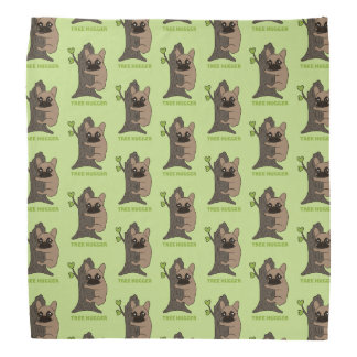 Black mask fawn Frenchie is a cute tree hugger Bandana