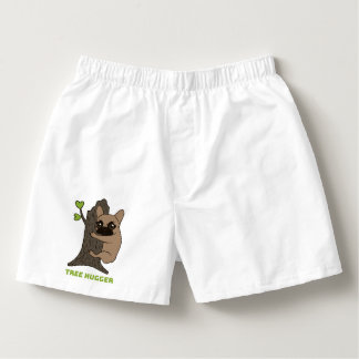 Black mask fawn Frenchie is a cute tree hugger Boxers