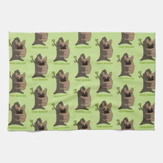 Black mask fawn Frenchie is a cute tree hugger Kitchen Towel
