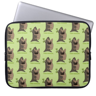Black mask fawn Frenchie is a cute tree hugger Laptop Sleeve