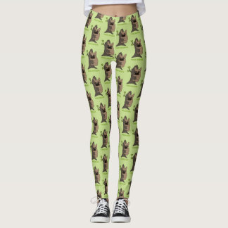 Black mask fawn Frenchie is a cute tree hugger Leggings