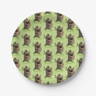 Black mask fawn Frenchie is a cute tree hugger Paper Plate