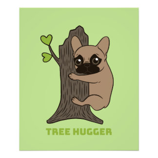 Black mask fawn Frenchie is a cute tree hugger Photo Print