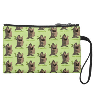 Black mask fawn Frenchie is a cute tree hugger Suede Wristlet