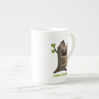 Black mask fawn Frenchie is a cute tree hugger Tea Cup