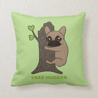 Black mask fawn Frenchie is a cute tree hugger Throw Pillow