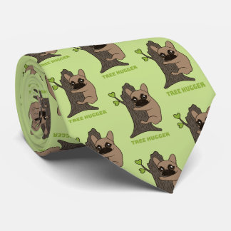Black mask fawn Frenchie is a cute tree hugger Tie