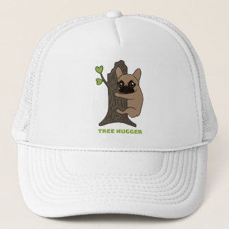 Black mask fawn Frenchie is a cute tree hugger Trucker Hat